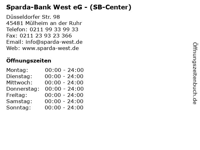 Sparda-Bank West eG - (SB-Center) in Mülheim an der Ruhr: Adresse und Öffnungszeiten