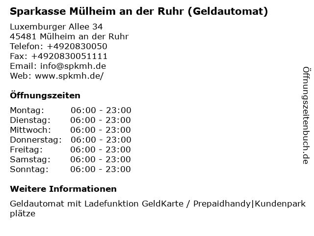 Sparkasse Mülheim an der Ruhr - (Geldautomat Saarner Kuppe) in Mülheim an der Ruhr: Adresse und Öffnungszeiten