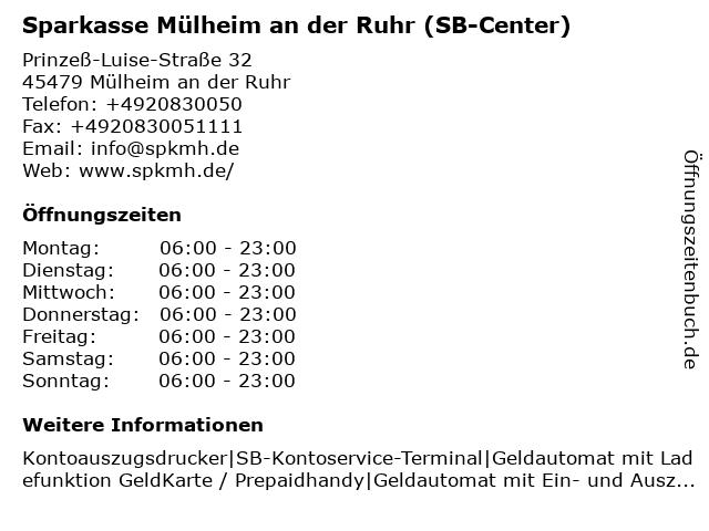 Sparkasse Mülheim an der Ruhr - (Geldautomat Filiale) in Mülheim an der Ruhr: Adresse und Öffnungszeiten