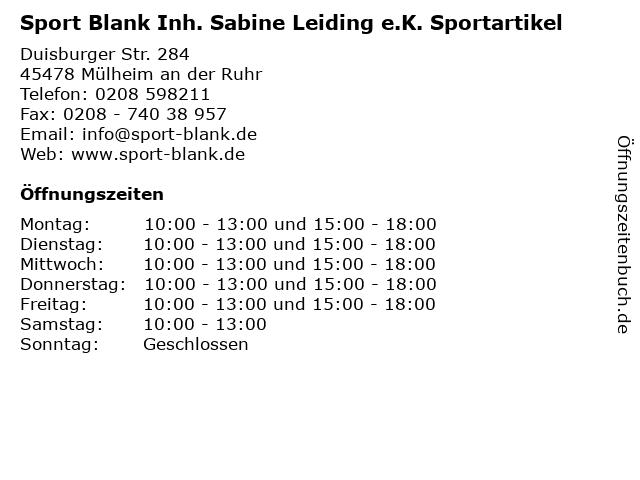 Sport Blank Inh. Sabine Leiding e.K. Sportartikel in Mülheim an der Ruhr: Adresse und Öffnungszeiten