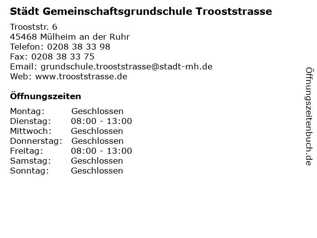 Städt Gemeinschaftsgrundschule Trooststrasse in Mülheim an der Ruhr: Adresse und Öffnungszeiten