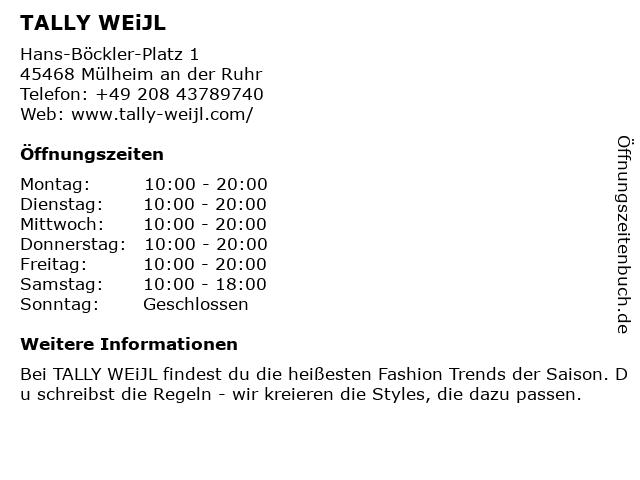 Tally Weijl Deutschland GmbH in Mülheim (Ruhr): Adresse und Öffnungszeiten