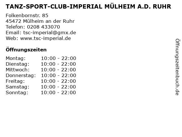 TANZ-SPORT-CLUB-IMPERIAL MÜLHEIM A.D. RUHR in Mülheim an der Ruhr: Adresse und Öffnungszeiten