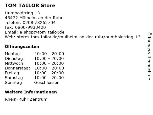 TOM TAILOR Store in Mülheim an der Ruhr: Adresse und Öffnungszeiten