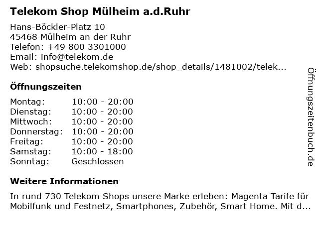 Telekom Shop Mülheim a.d.Ruhr in Mülheim an der Ruhr: Adresse und Öffnungszeiten