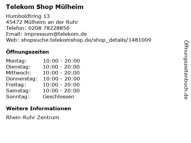 Telekom Shop Mülheim in Mülheim an der Ruhr: Adresse und Öffnungszeiten