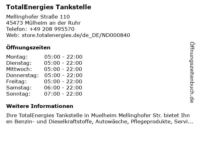 TotalEnergies Tankstelle in Mülheim an der Ruhr: Adresse und Öffnungszeiten