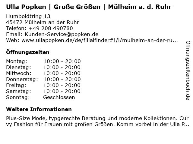 Ulla Popken GmbH in Mülheim an der Ruhr: Adresse und Öffnungszeiten