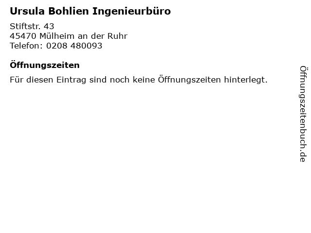 Ursula Bohlien Ingenieurbüro in Mülheim an der Ruhr: Adresse und Öffnungszeiten