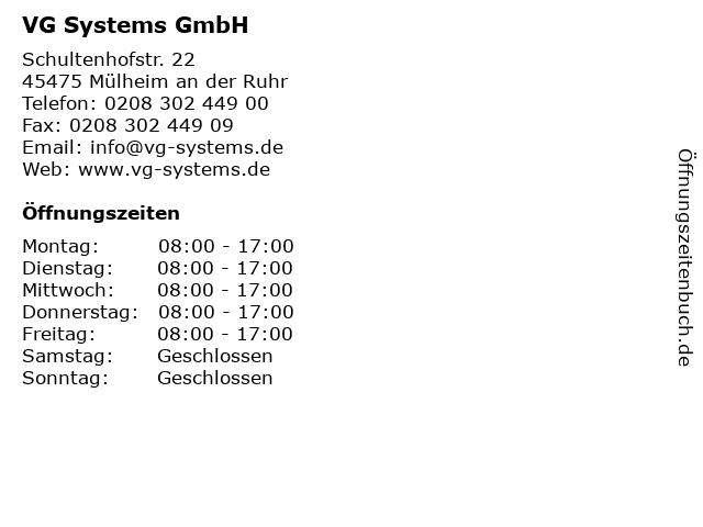 ᐅ öffnungszeiten Vg Systems Gmbh Schultenhofstr 22 In Mülheim