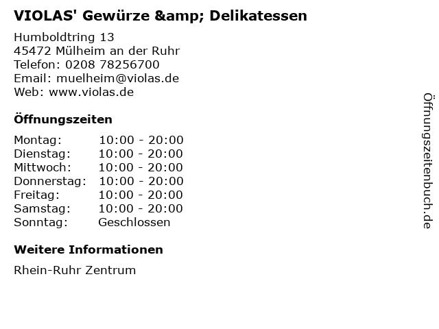 VIOLAS' Gewürze & Delikatessen in Mülheim an der Ruhr: Adresse und Öffnungszeiten