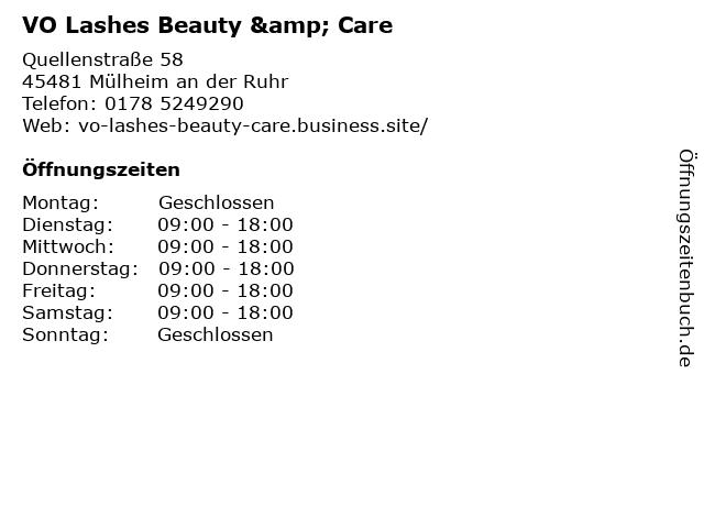 VO Lashes Beauty & Care in Mülheim an der Ruhr: Adresse und Öffnungszeiten