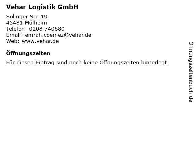 Vehar Logistik GmbH in Mülheim an der Ruhr: Adresse und Öffnungszeiten