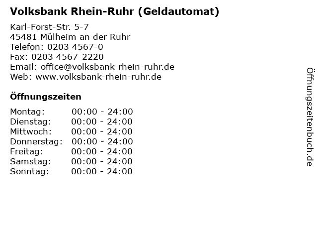 Volksbank Rhein-Ruhr (Geldautomat) in Mülheim an der Ruhr: Adresse und Öffnungszeiten