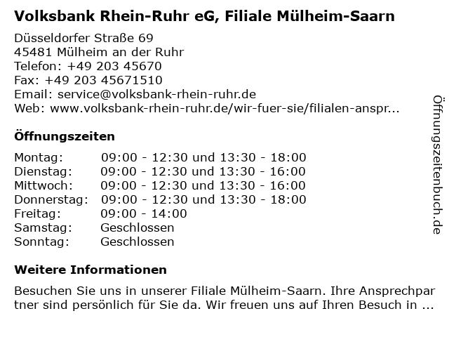 Volksbank Rhein-Ruhr eG, Filiale Mülheim-Saarn in Mülheim an der Ruhr: Adresse und Öffnungszeiten