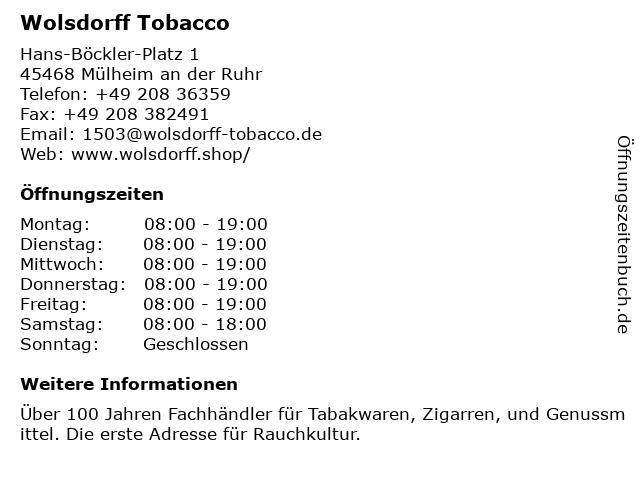 Wolsdorff Tobacco in Mülheim an der Ruhr: Adresse und Öffnungszeiten