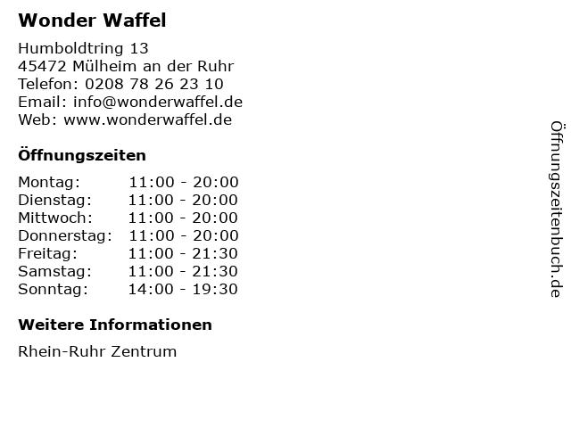 WonderWaffel in Mülheim an der Ruhr: Adresse und Öffnungszeiten