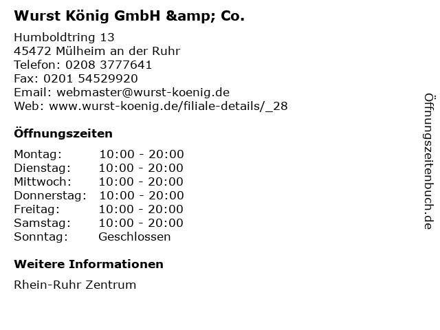 Wurst König GmbH & Co. in Mülheim an der Ruhr: Adresse und Öffnungszeiten