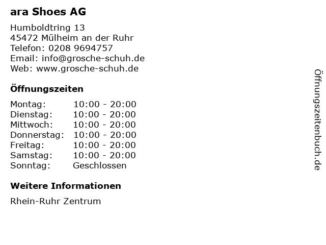 ara Shoes AG in Mülheim an der Ruhr: Adresse und Öffnungszeiten