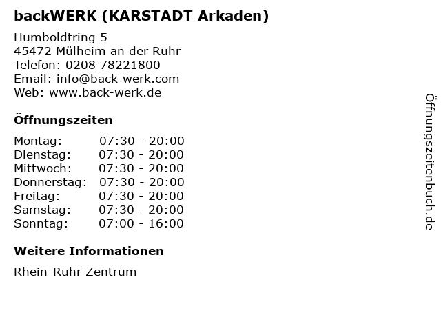 backWERK (KARSTADT Arkaden) in Mülheim an der Ruhr: Adresse und Öffnungszeiten