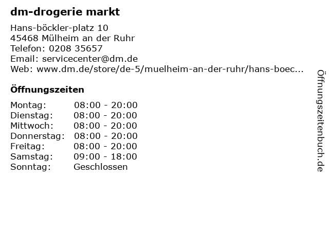 dm-drogerie markt GmbH + Co. KG in Mülheim (Ruhr): Adresse und Öffnungszeiten