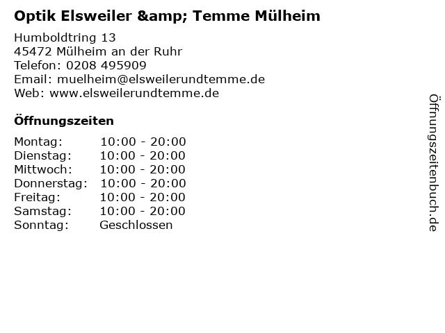 elsweiler & temme GmbH in Mülheim an der Ruhr: Adresse und Öffnungszeiten