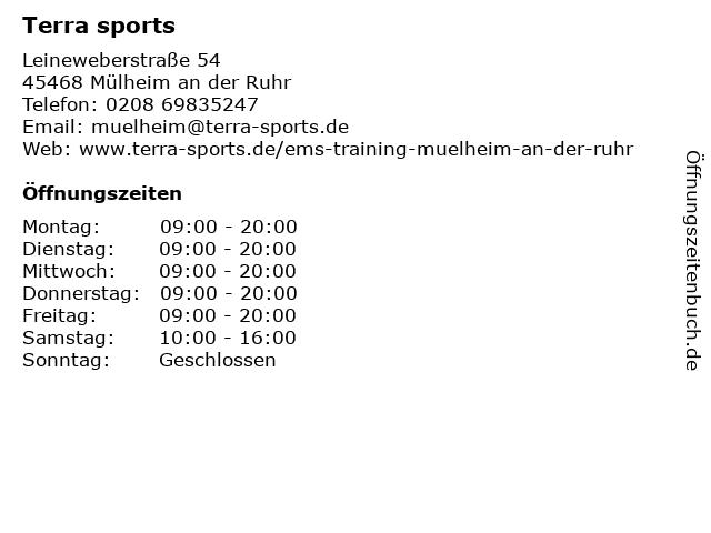 terra sports Mülheim an der Ruhr - EMS Training in Mülheim an der Ruhr: Adresse und Öffnungszeiten