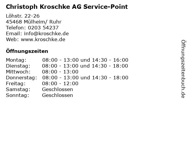 Christoph Kroschke AG Service-Point in Mülheim/ Ruhr: Adresse und Öffnungszeiten