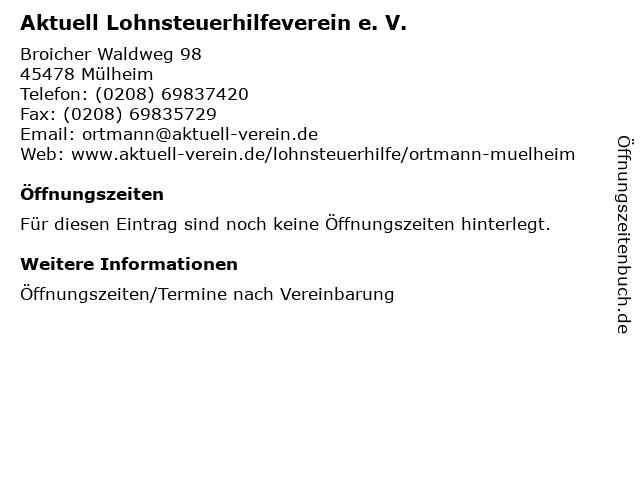 Aktuell Lohnsteuerhilfeverein e. V. in Mülheim: Adresse und Öffnungszeiten