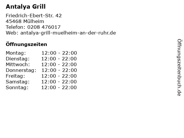 Antalya Grill in Mülheim: Adresse und Öffnungszeiten
