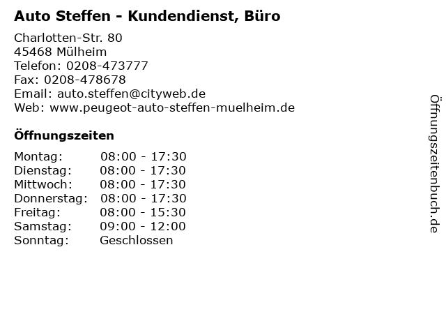 Auto Steffen - Kundendienst, Büro in Mülheim: Adresse und Öffnungszeiten
