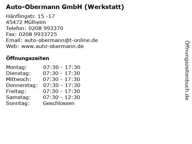 Auto-Obermann GmbH (Werkstatt) in Mülheim: Adresse und Öffnungszeiten