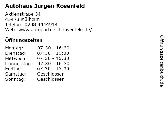 Autohaus Jürgen Rosenfeld in Mülheim: Adresse und Öffnungszeiten