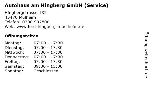 Autohaus am Hingberg GmbH (Service) in Mülheim: Adresse und Öffnungszeiten