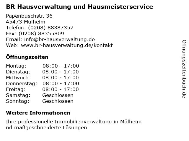 BR Hausverwaltung und Hausmeisterservice in Mülheim: Adresse und Öffnungszeiten