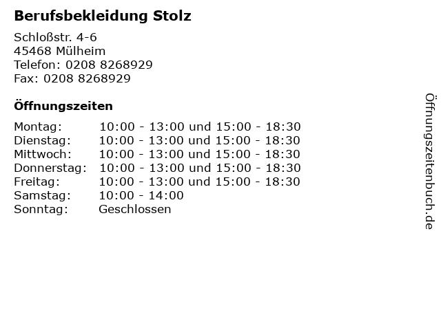 Berufsbekleidung Stolz in Mülheim: Adresse und Öffnungszeiten