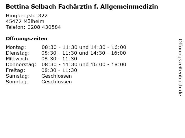 Bettina Selbach Fachärztin f. Allgemeinmedizin in Mülheim: Adresse und Öffnungszeiten