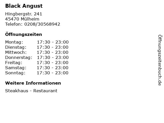 Black Angust in Mülheim: Adresse und Öffnungszeiten