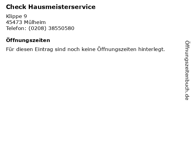 Check Hausmeisterservice in Mülheim: Adresse und Öffnungszeiten