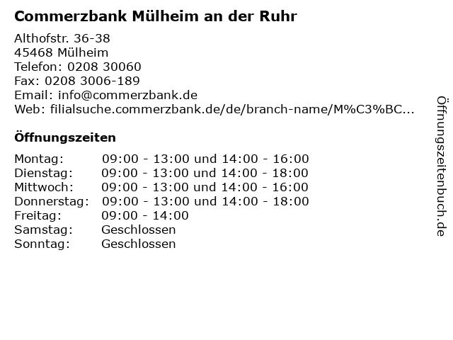 Commerzbank Mülheim an der Ruhr in Mülheim: Adresse und Öffnungszeiten