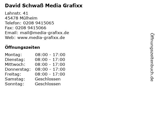 David Schwaß Media Grafixx in Mülheim: Adresse und Öffnungszeiten