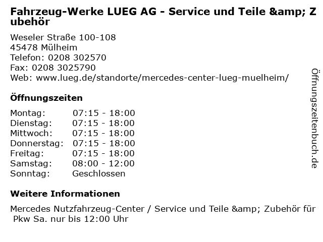 Fahrzeug-Werke LUEG AG - Service und Teile & Zubehör in Mülheim: Adresse und Öffnungszeiten