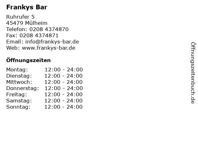 Frankys Bar in Mülheim: Adresse und Öffnungszeiten