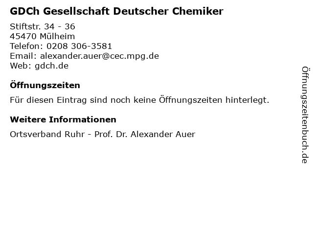 GDCh Gesellschaft Deutscher Chemiker in Mülheim: Adresse und Öffnungszeiten