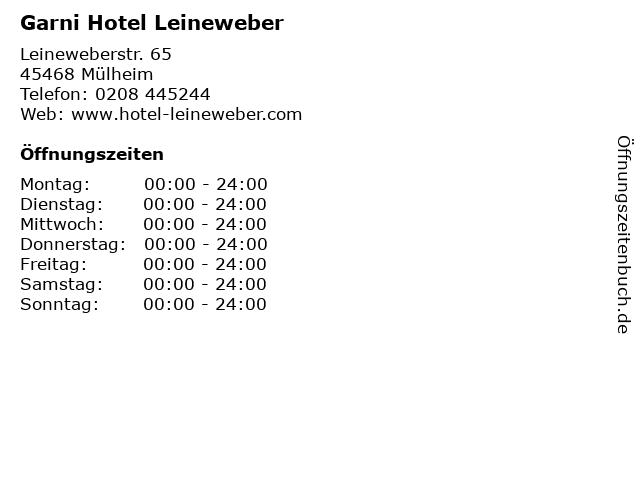 Garni Hotel Leineweber in Mülheim: Adresse und Öffnungszeiten