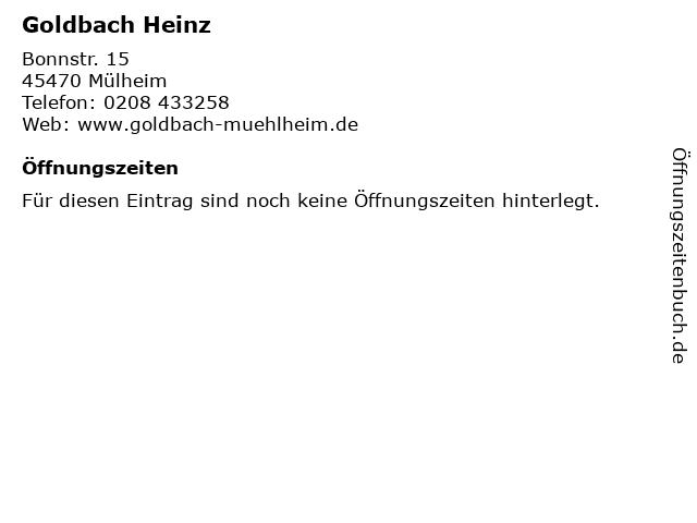 Goldbach Heinz in Mülheim: Adresse und Öffnungszeiten
