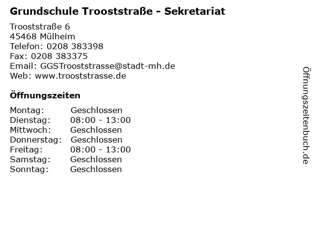 Grundschule Trooststraße - Sekretariat in Mülheim: Adresse und Öffnungszeiten