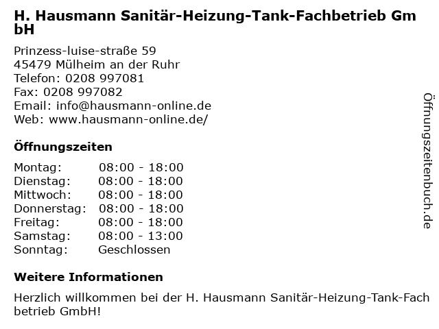 H. Hausmann Sanitär-Heizung-Tank-Fachbetrieb GmbH in Mülheim: Adresse und Öffnungszeiten