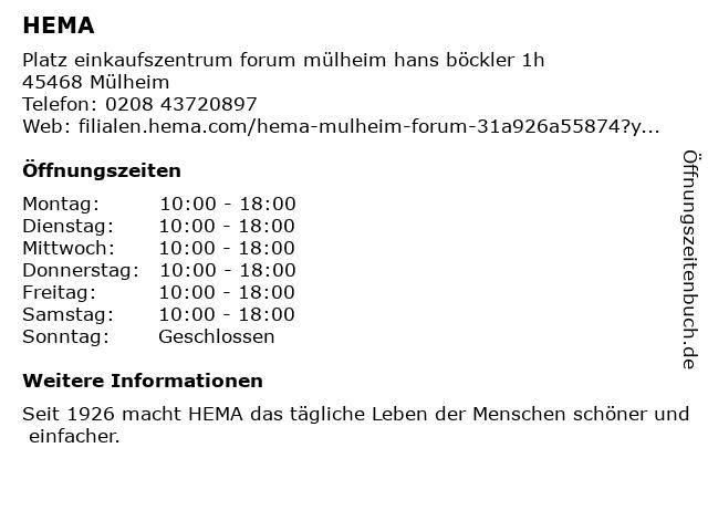 HEMA Deutschland GmbH in Mülheim (Ruhr): Adresse und Öffnungszeiten