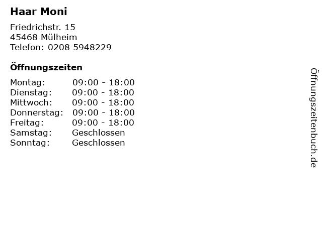 Haar Moni in Mülheim: Adresse und Öffnungszeiten